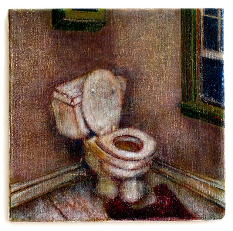 "8"" x 8"" Experiments: Toilet (acrylic on canvas)"