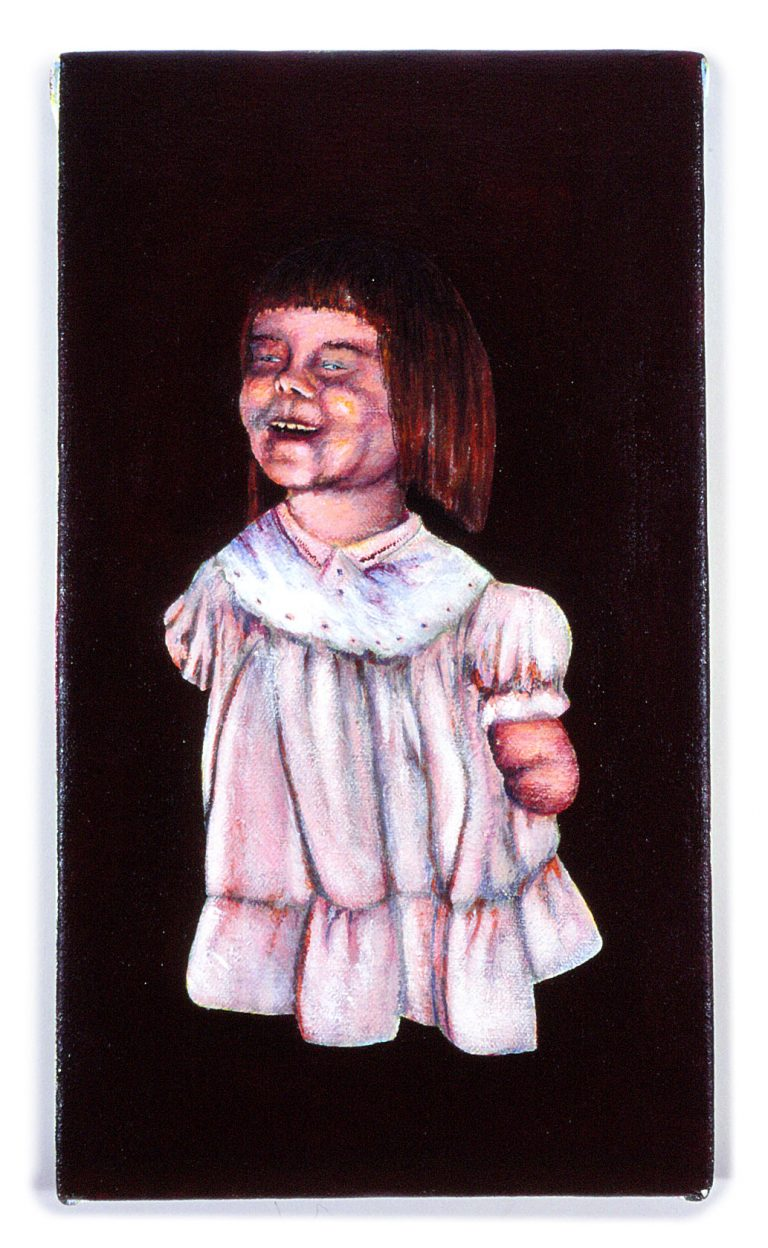 "Home Distortion: Little Girl (8"" x 12"" , acrylic on canvas)"
