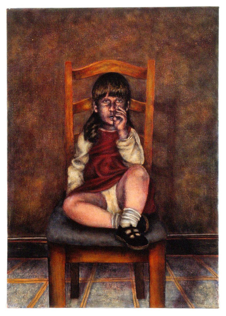 "Home: Little Girl in Chair (24"" x 34"" , acrylic on canvas)"