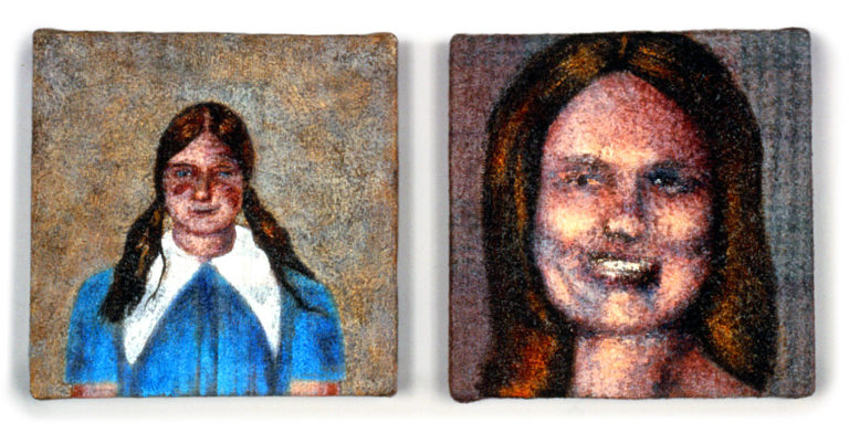 "Home: Girl & Woman (8"" x 17"" [diptych] , acrylic on upholstery)"